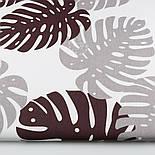"""Отрез ткани """"Большие листья монстеры"""" коричневые и серые на белом, 125 г/м2 (№1338а) размер 90*160, фото 2"""