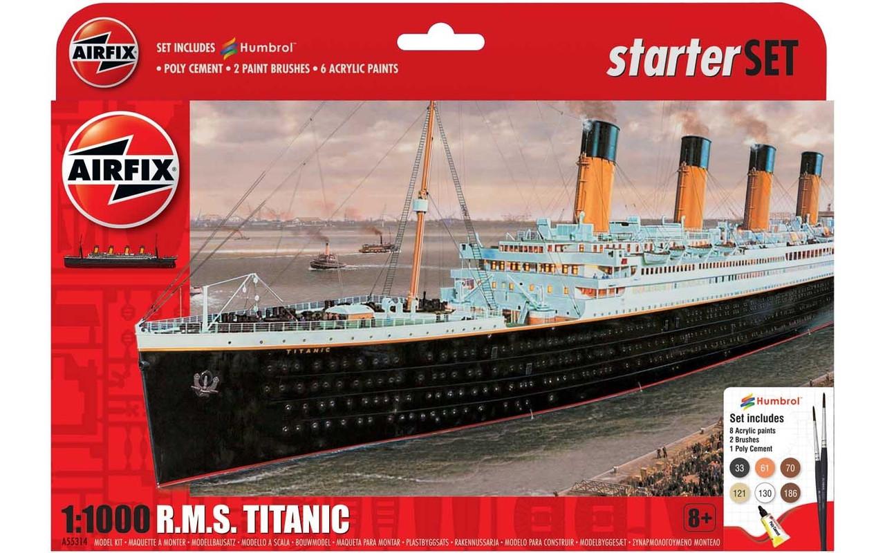 Титаник. Сборная модель R.M.S. Titanic в масштабе 1:1000. Подарочный набор с красками, кисточками и клеем.