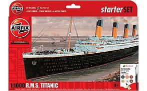 Сборная модель R.M.S. Titanic в масштабе 1:1000. Подарочный набор с красками, кисточками и клеем. AIRFIX 55314