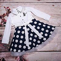Нарядное платье в горошек для девочек. Размеры: 116, 122, 128, 134, 140.