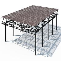 Навес с плоской крышей для дома
