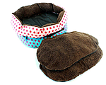 Ліжко LEADER SOFA 33*38 см для собак синій з рожевими цяточками, фото 3