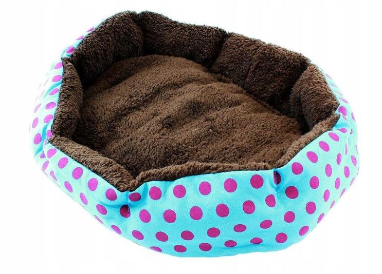 Ліжко LEADER SOFA 33*38 см для собак синій з рожевими цяточками
