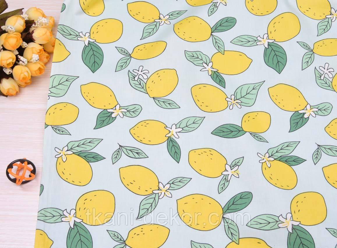 Сатин (хлопковая ткань) Лимоны с листиками на мяте