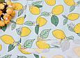 Сатин (хлопковая ткань) Лимоны с листиками на мяте, фото 2