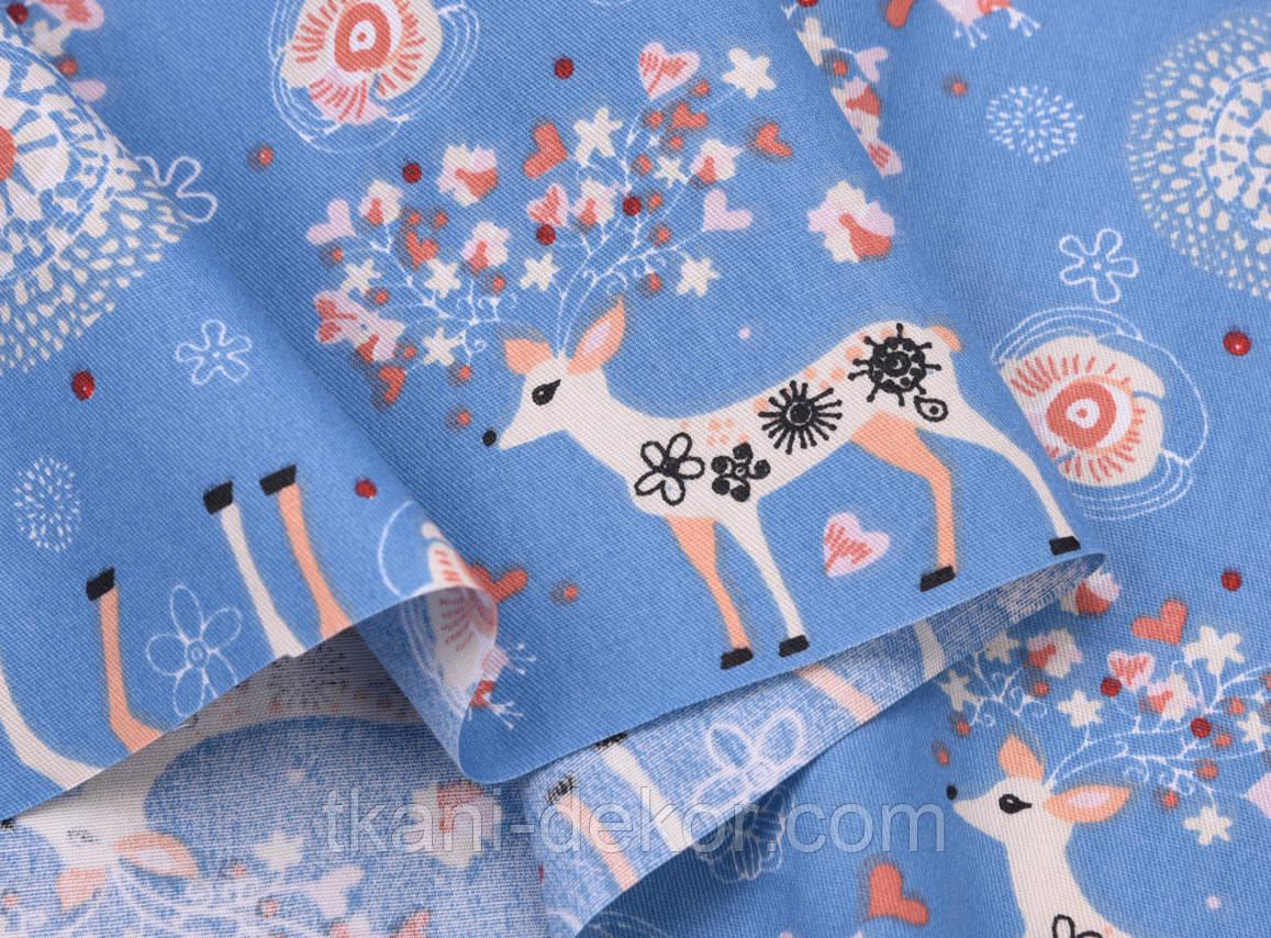 Сатин (хлопковая ткань) Олени с цветными рожками