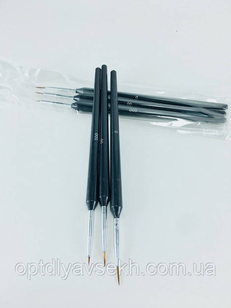 Набор кистей для росписи, 3 шт (черный)