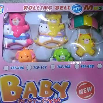 Мобиль музыкальный на кроватку для малышей с фигурками мишки