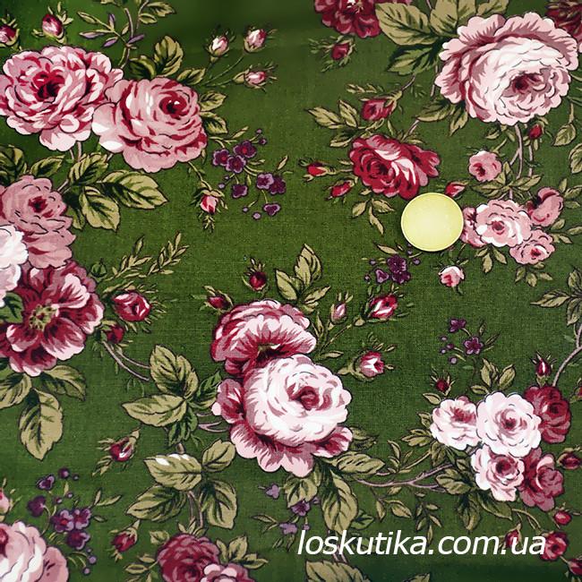 29005 Комплимент (зеленый фон). Ткань с изображением цветов. Прованс.