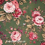 29005 Комплимент (зеленый фон). Ткань с изображением цветов. Прованс., фото 2