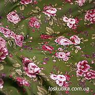 29005 Комплимент (зеленый фон). Ткань с изображением цветов. Прованс., фото 3