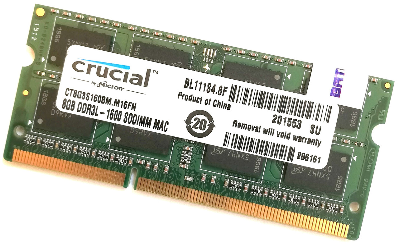 Оперативная память для ноутбука Crucial SODIMM DDR3L 8Gb 1600MHz 12800s CL11 (CT8G3S160BM.M16FN) Б/У