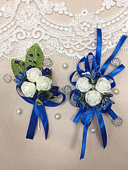 Свадебный набор бутоньерок для свидетелей синий
