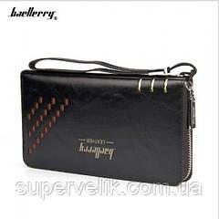 Мужской кошелек клатч портмоне барсетка Baellerry SW009 business Baellerry Leather, черный