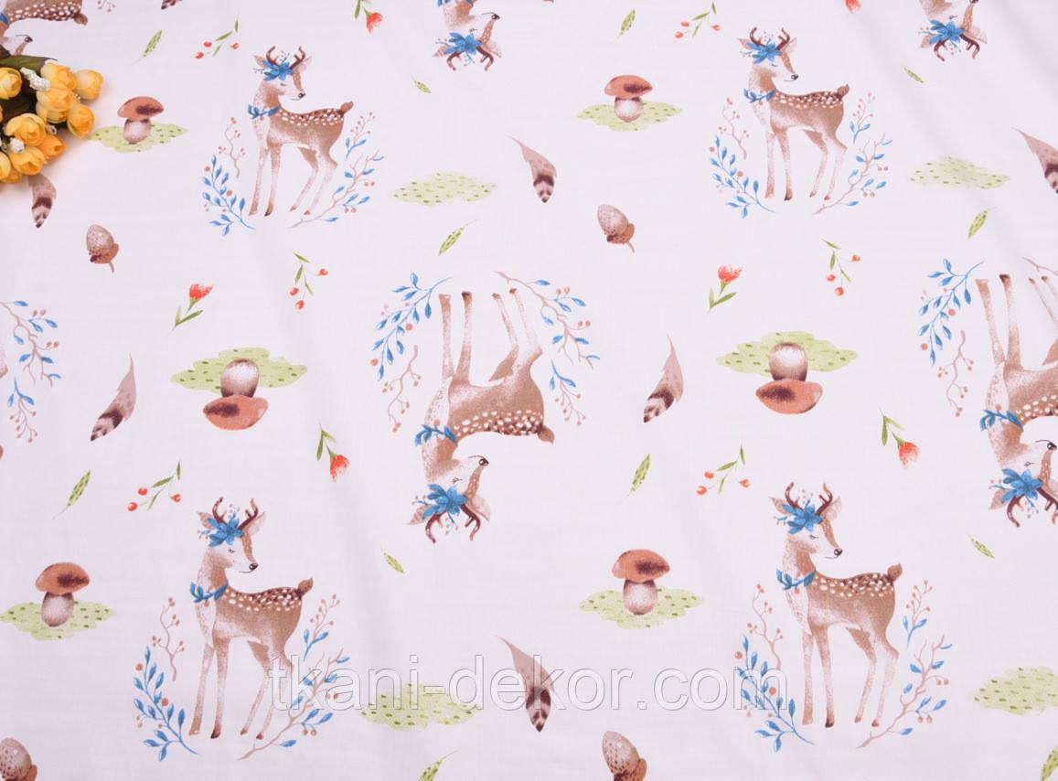 Сатин (хлопковая ткань) Бемби  (оленята) (35*160)