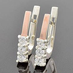 Серебряные серьги с золотом Лучик размер 17*4 мм вставка белые фианиты вес 2.5 г