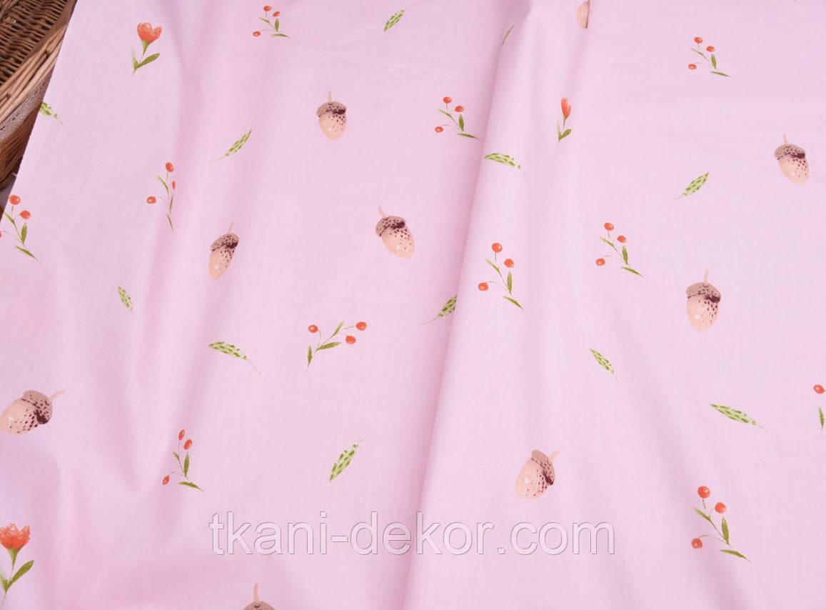 Сатин (хлопковая ткань) Желуди и цветочки на розовом (компаньон к Бемби)