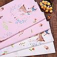 Сатин (хлопковая ткань) Желуди и цветочки на розовом (компаньон к Бемби), фото 3