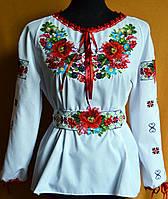Вишиванка жіноча біла з вишивкою хрестиком маки машинна вишивка
