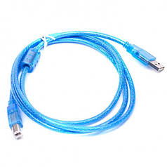 Кабель шнур для принтера удлинитель USB A/B с фильтром 1.5 м Blue
