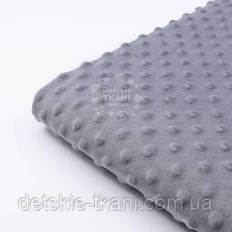 Відріз плюшу мінки М-5 темно-сірого кольору розміром 100*80