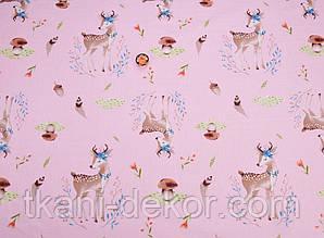 Сатин (хлопковая ткань) Бемби с грибочками на розовом (оленята)