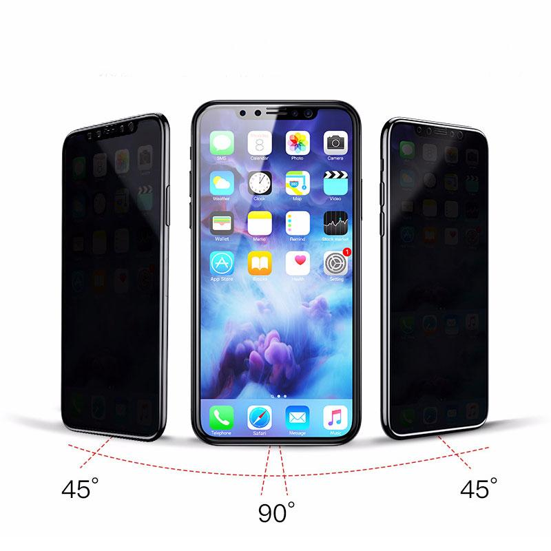 3D cтекло антишпион айфон 7 плюс с черной рамкой