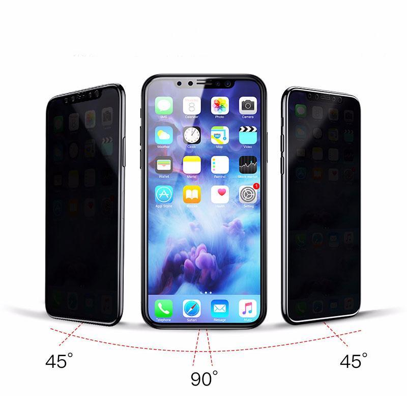 Защитное 3D стекло антишпион с черной рамкой для IPhone XR