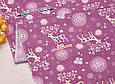 Сатин (хлопковая ткань) Олени с цветными рожками на бордовом, фото 2