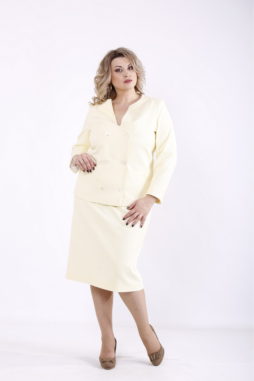 01358-1 | Деловой желтый костюм большого размера