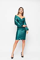 Короткое вечернее зеленое платье с блеском, фото 1
