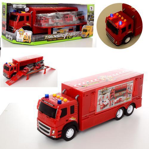 Инерционный трейлер 1188-21 со световыми и звуковыми эффектами пожарная машина 2 шт