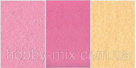 """Набор  фетр листовой_розовый, персиковый 1,0 мм (жесткий) - Интернет-магазин """"HobbyMIX"""" в Запорожье"""