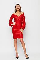 Красное вечернее короткое платье с блеском, фото 1