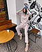 Теплый шерстяной костюм вязаный трикотажный спортивный  прогулочный белый розовый бежевый, фото 3