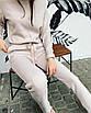 Теплый шерстяной костюм вязаный трикотажный спортивный  прогулочный белый розовый бежевый, фото 2
