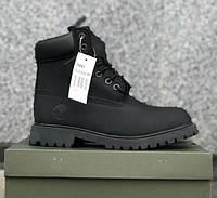 Timberland 6 Inch Premium black (с Мехом) | мужские и женские ботинки; черные Тимбы; зимние