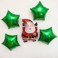 """Фольгована куля """"Дід Мороз і зірочки"""" 50х35 см Balloons, фото 1"""