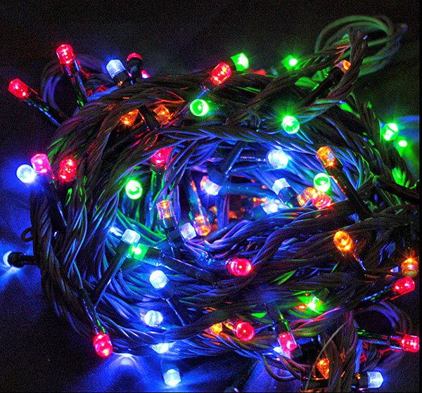 Гирлянда новогодняя цветная 300 лампочек