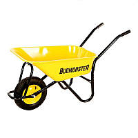 Тачка BudMonster строительная 1-колесная, 80 л, г/п 200 кг, желтый, пневмоколесо 4х8''