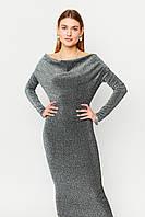 Облегающее серебристое вечернее платье миди из люрекса, фото 1