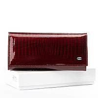 Женский кожаный лаковый кошелек SERGIO TORRETTI (W1-V бордовый), фото 1