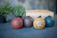 Набор банок/сосудов для чая из исинской глины 4 шт по 500мл, подарочная коробка.2,4 кг ,29х28,5х13 см