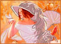 Схема для вышивания бисером Девушка с веером