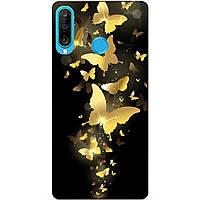 Силиконовый бампер чехол для Huawei P30 Lite с рисунком Золотые бабочки