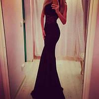 Платье в пол русалочка с широким кружевом на талии
