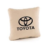 Подушка с логотипом Toyota бежевый флок_склад