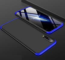 Чехол GKK 360 градусов для Samsung A70 черно-синий