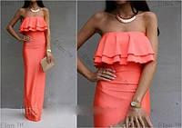 Платье в пол прямого кроя с двойным рюшем на груди