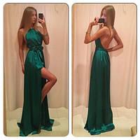 Платье в пол с открытой спиной  юбка на запах